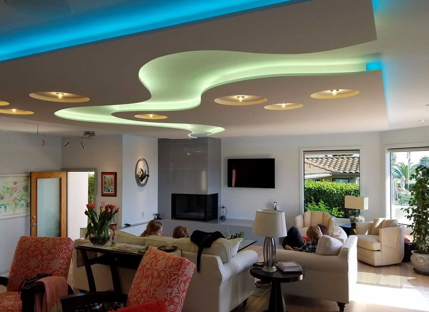 Drop Ceiling with Color Changing Lights